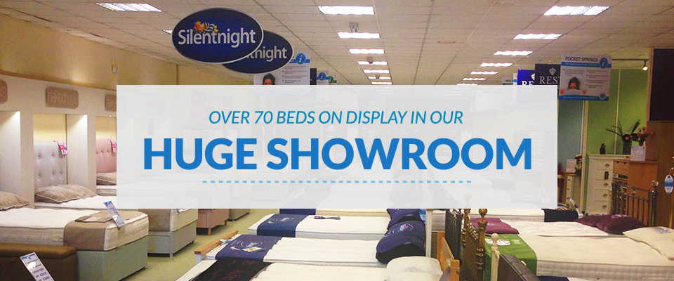 Over 70 beds on display in our huge showroom