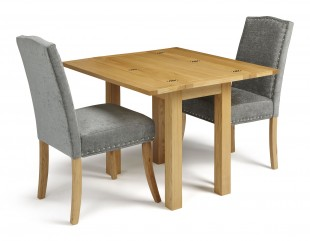 serene brent extending oak dining set with 2 x steel fabric