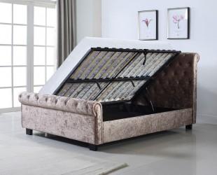 Astounding Flintshire Whitford 4Ft6 Double Mink Fabric Side Lift Machost Co Dining Chair Design Ideas Machostcouk