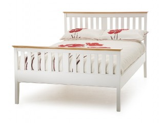 Serene grace 5ft king size white wooden bed frame with for Small king bed frame