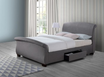 Birlea Barcelona 5ft Kingsize Grey Fabric Bed Frame with 2 Drawers