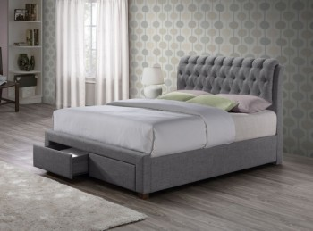 Birlea Valentino 5ft Kingsize Grey Fabric Bed Frame with 2 Drawers