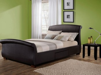 Birlea Barcelona 4ft6 Double Brown Faux Leather Bed Frame with 2 Drawers