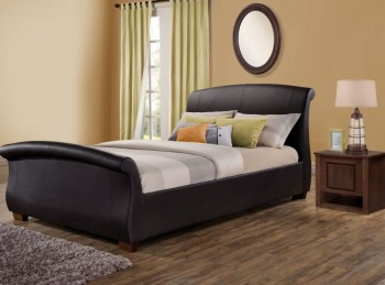 Birlea Barcelona 4ft6 Double Brown Faux Leather Bed Frame