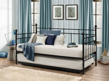 Birlea Lyon 3ft Single Black Metal Day Bed with Trundle