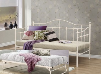 Birlea Torino 3ft Single Cream Metal Day Beds with Trundle