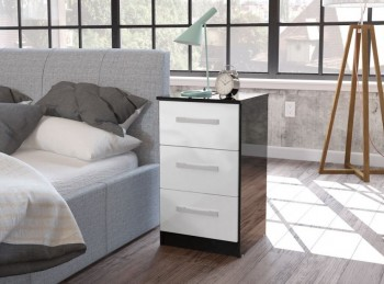 Birlea Lynx Black with White Gloss 3 Drawer Bedside