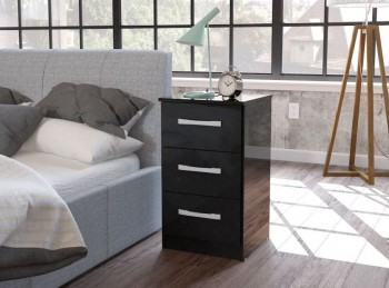 Birlea Lynx Black with Black Gloss 3 Drawer Bedside