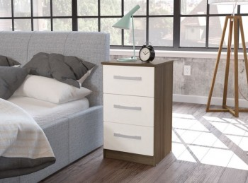 Birlea Lynx Walnut with White Gloss 3 Drawer Bedside