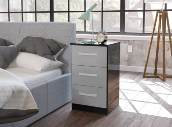 Birlea Lynx Black with Grey Gloss 3 Drawer Bedside