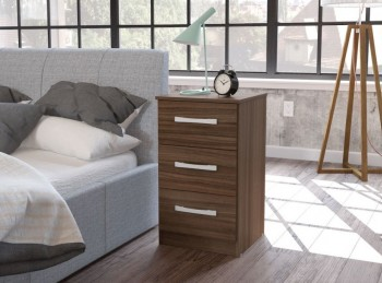 Birlea Lynx Walnut 3 Drawer Bedside
