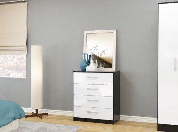 Birlea Lynx Black with White Gloss 4 Drawer Chest of Drawers