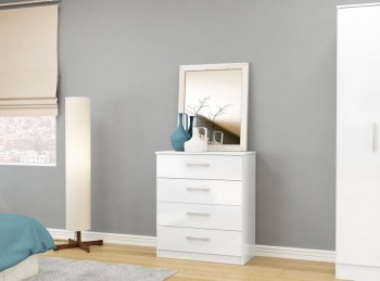 Birlea Lynx White with White Gloss 4 Drawer Chest of Drawers