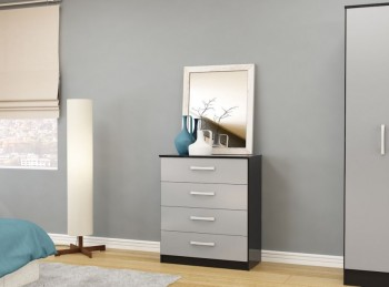 Birlea Lynx Black with Grey Gloss 4 Drawer Chest of Drawers