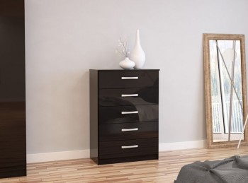 Birlea Lynx Black with Black Gloss 5 Drawer Chest of Drawers