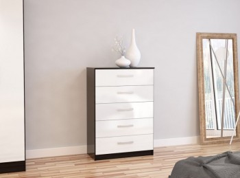 Birlea Lynx Black with White Gloss 5 Drawer Chest of Drawers