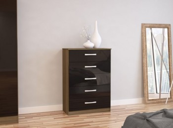 Birlea Lynx Walnut with Black Gloss 5 Drawer Chest of Drawers
