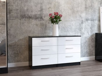Birlea Lynx Black with White Gloss 6 Drawer Wide Chest of Drawers
