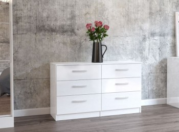 Birlea Lynx White with White Gloss 6 Drawer Wide Chest of Drawers