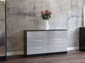 Birlea Lynx Black with Grey Gloss 6 Drawer Wide Chest of Drawers