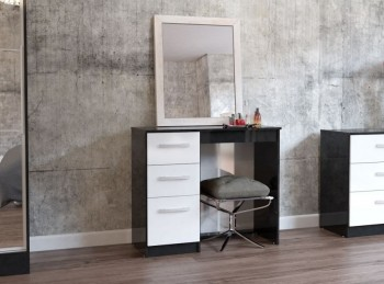 Birlea Lynx Black with White Gloss 3 Drawer Single Pedestal Dressing Table