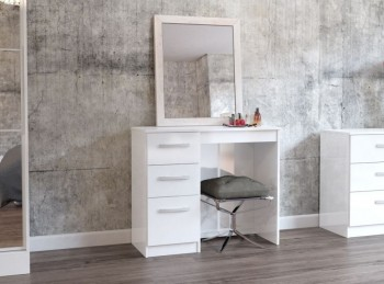 Birlea Lynx White with White Gloss 3 Drawer Single Pedestal Dressing Table