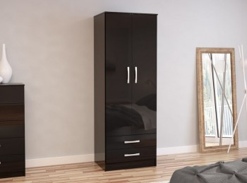 Birlea Lynx Black with Black Gloss 2 Door Combi Robe