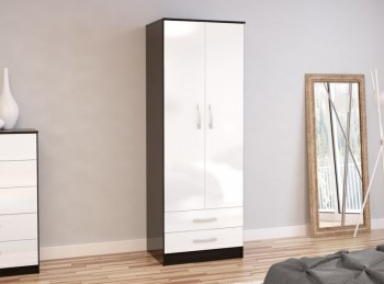 Birlea Lynx Black with White Gloss 2 Door Combi Robe