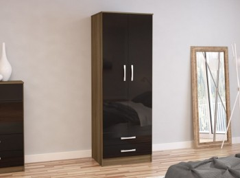 Birlea Lynx Walnut with Black Gloss 2 Door Combi Robe