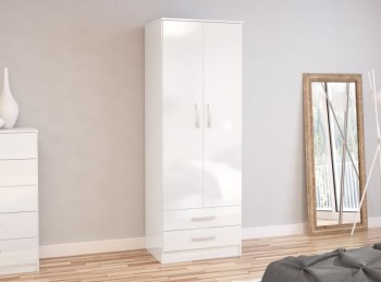 Birlea Lynx White with White Gloss 2 Door Combi Robe