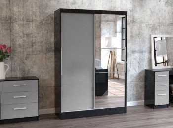 Birlea Lynx Black with Grey Gloss Sliding Door Wardrobe with Mirror
