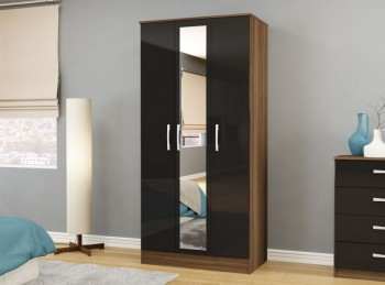 Birlea Lynx Walnut with Black Gloss 3 Door Wardrobe with Center Mirror