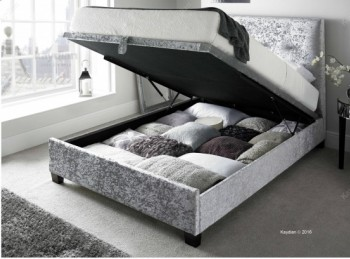 Kaydian Walkworth 5ft Kingsize Silver Velvet Fabric Ottoman Storage Bed