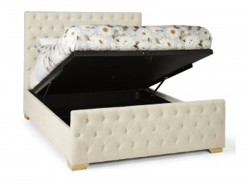 Serene Lillian 5ft Kingsize Pearl Fabric Ottoman Bed Frame