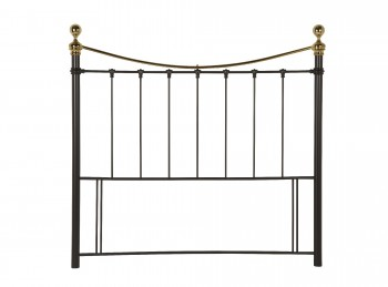 Serene Ethan Black with Brass 4ft Small Double Metal Headboard