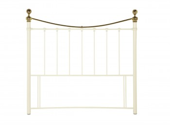 Serene Ethan Ivory Gloss with Brass 5ft King Size Metal Headboard