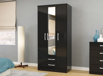 Birlea Lynx Black with Black Gloss 3 Door 2 Drawer Wardrobe with Centre Mirror
