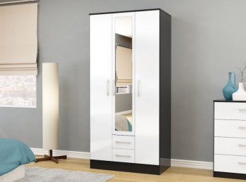Birlea Lynx Black with White Gloss 3 Door 2 Drawer Wardrobe with Centre Mirror