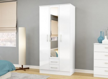 Birlea Lynx White with White Gloss 3 Door 2 Drawer Wardrobe with Centre Mirror