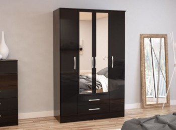 Birlea Lynx Black with Black Gloss 4 Door 2 Drawer Wardrobe with Center Mirrors