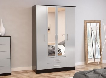Birlea Lynx Black with Grey Gloss 4 Door 2 Drawer Wardrobe with Center Mirrors