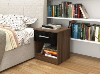 Birlea Cannes 1 Drawer Bedside Table Walnut and Black