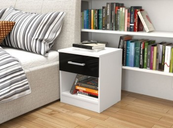 Birlea Cannes 1 Drawer Bedside Table White and Black