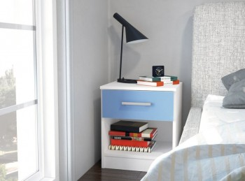 Birlea Cannes 1 Drawer Bedside Table White and Blue