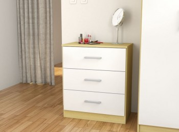 Birlea Cannes 3 Drawer Chest Oak and White