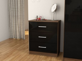 Birlea Cannes 3 Drawer Chest Black and Walnut
