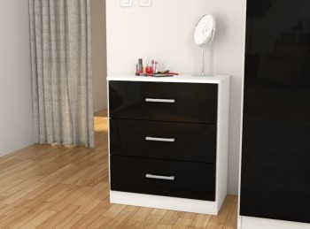Birlea Cannes 3 Drawer Chest White and Black