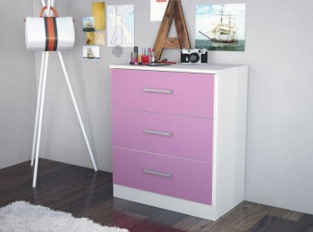 Birlea Cannes 3 Drawer Chest White and Pink