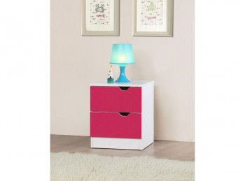 Birlea Paddington Bedside Table White and Pink