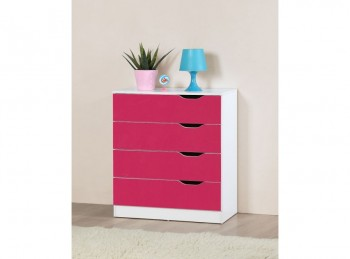 Birlea Paddington 4 Drawer Chest White and Pink